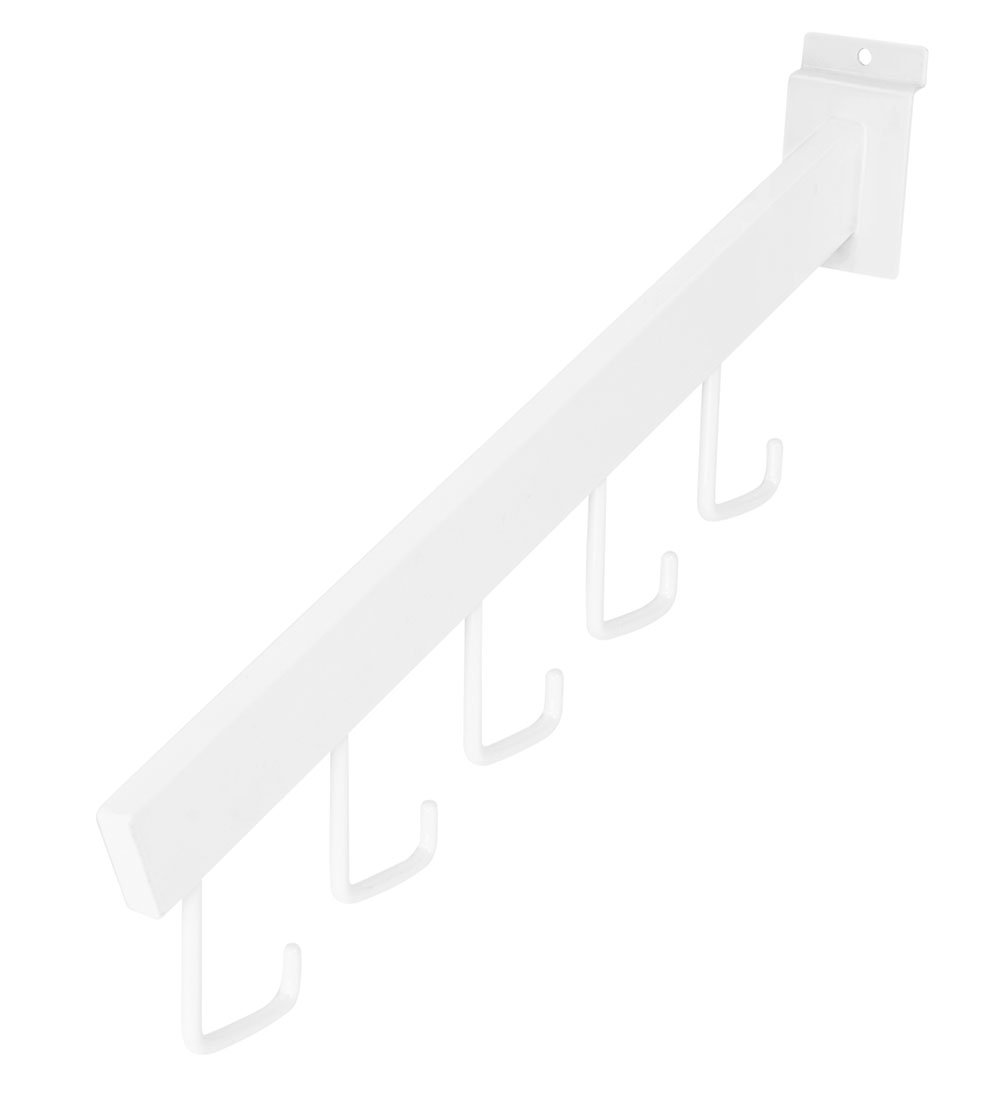 White 5-J-Hook Dimensional Waterfall for Slatwall - Pack of 10