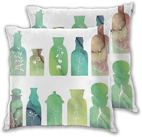 lsrIYzy Decorations Throw Pillow Cushion Cover Set of 2,Vintage Watercolor Botanical Herbal Treatment Bottles Medicine Aromatic Nature,Square Accent Pillow Case 20x20 inches