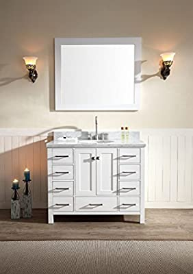 """Ariel Cambridge A043S-WHT 43"""" Single Sink Solid Wood Bathroom Vanity Set In White With White 1.5"""" Carrara Marble Countertop"""