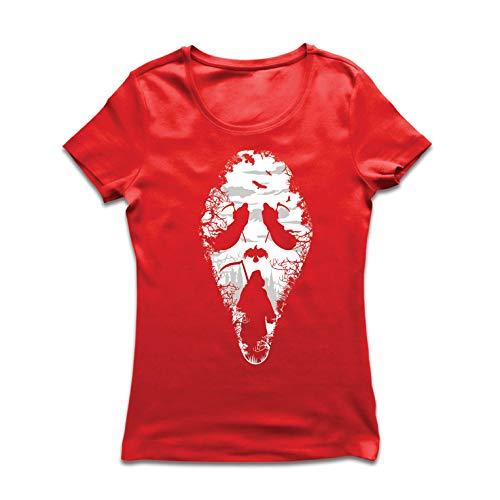 lepni.me Women's T-Shirt Tribal Grim Reaper Scream - Death Creepy Scary (Small Red Multi Color)