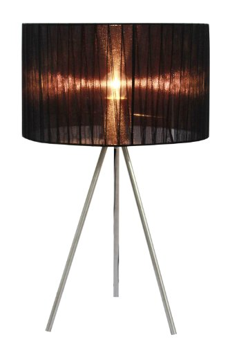 Simple Designs LT2006-BLK Brushed Nickel Tripod Pleated Silk Sheer Shade Table Lamp, Black