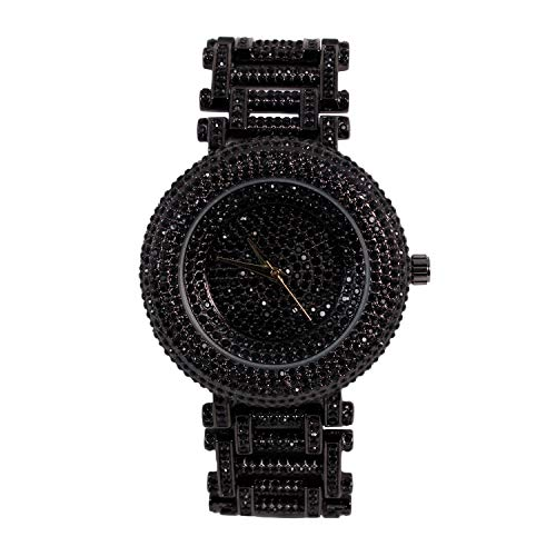 Men's Fully Iced Out Round Watch with Unique Style Band and Simulated Diamonds - Black