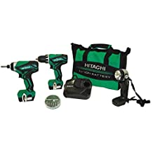 Hitachi Powertools KC10DFL2 12-Volt Peak Lithium Ion Driver Drill and Impact Driver Combo Kit (Includes 2 Batteries and Flashlight)