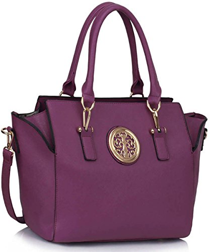 Leather Womens Luxury Style Faux New Designer Large New Look Shoulder Handbags Ladies Bags Tote Purple Design 1 RRP5AwrqT