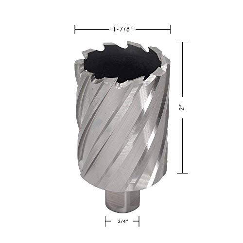 (Annular Cutter JESTUOUS 3/4 Inch Weldon Shank 1-7/8 Cutting Diameter with 2 Cutting Depth Two-Flat HSS Kit for Magnetic Drill Press,1 Piece)