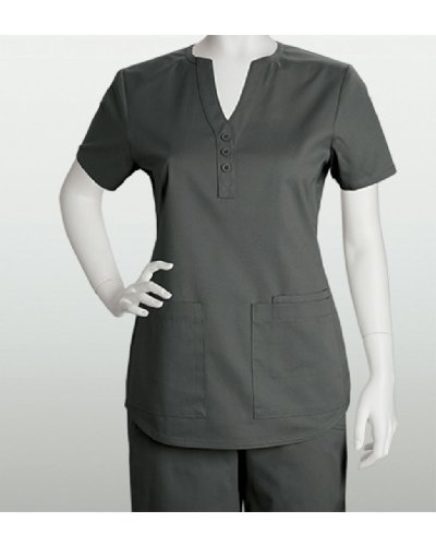 ICU by Barco Women's Junior 3 Pocket Shirt Tail Scrub Top (Pewter, S)