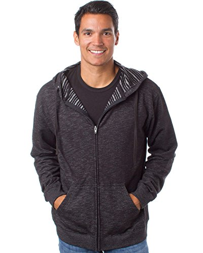 Global Mens Baja Striped French Terry Lightweight Full Zip Up Hoodie XXXL Black