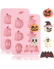QELEG 2 Pieces Halloween Silicone Baking Molds - Nonstick Cake Molds FDA Aproved Material - Muffin Mold with Bat Pumpkin, Evil, Skull, Ghost