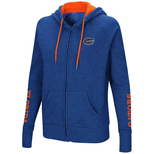 Colosseum Women's NCAA-Contract-Cotton/Poly-Fleece Full Zip Up Hoodie Sweatshirt-Florida Gators-Heathered Blue-Small