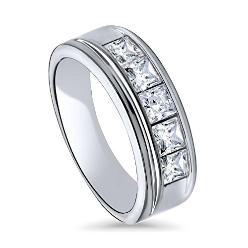 BERRICLE Rhodium Plated Sterling Silver Channel Set Princess Cut Cubic Zirconia CZ 5-Stone Anniversary Wedding Half Eternity Band Ring Size - 3.5 Set Channel Mm