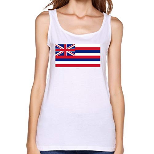 Hawaii Flag Womens Sexy Vest Customized T-Shirt Young Girl Tank Top L White - Exo Dri Short