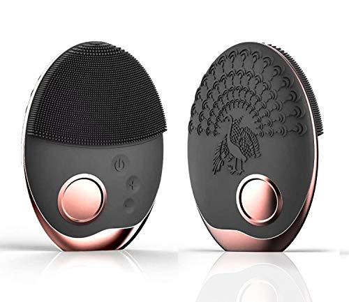 Facial Cleansing Brush, Sonic Waterproof Face Brush Silicone Phototherapy Skin Cleansing Brush with Wireless Charging for Deep Cleansing, Exfoliating, Removing Blackhead Face Massager (Black) (Recharge Sonic)