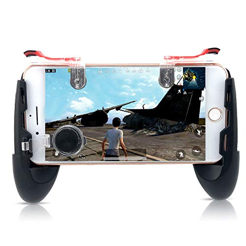 PinShang Game Controller Mobile Joystick Gamepad for Mobile Phone Game Controller + Auxiliary Quick Button for iPhone Ergonomic Design Handle Holder Handgrip Stand Black
