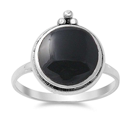 ed Black Onyx .925 Sterling Silver Ring Size 10 (Black Onyx Circle Ring)