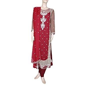 Shabnam Red Casual Kameez & Salwar Set For Women