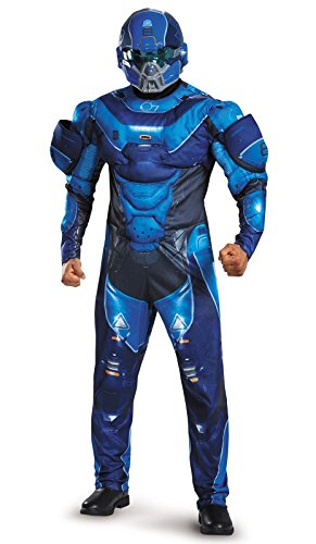 [Disguise Men's Halo Spartan Muscle Costume, Blue, X-Large] (Full Halo Costumes)