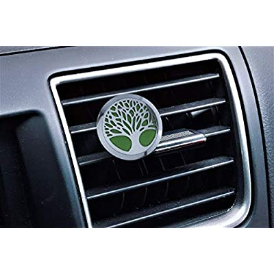 mEssentials Tree of Life Aromatherapy Car Air Freshener Essential Oil Car Vent Diffuser With Vent Clip and 8 Color Refill Pads 4 Essential Oils (Lavender, Peppermint, Inner Calm, Zen) Gift Set: Beauty