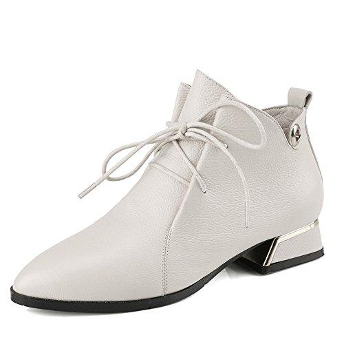 Nio Sju Äkta Läder Womens Pekade Tå Chunky Häl Snörning Stil Handgjorda Boots Beige