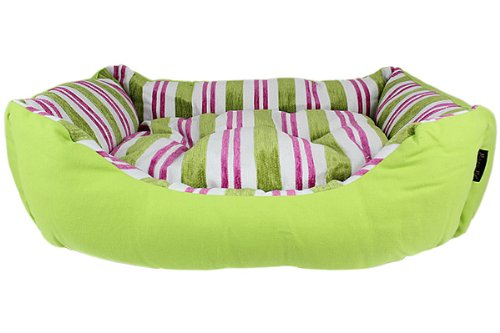 Parisian Pet Canvas Striped Pet Bed, Green For Sale