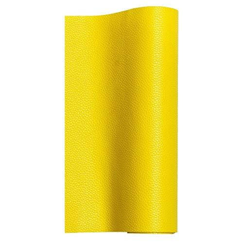 - MeCan Faux Leather Fabric Sheet Solid PU Synthetic Leather Perfect for Earrings,Cricut,DIY Craft Projects,9''x53''(23x135cm) (Yellow)