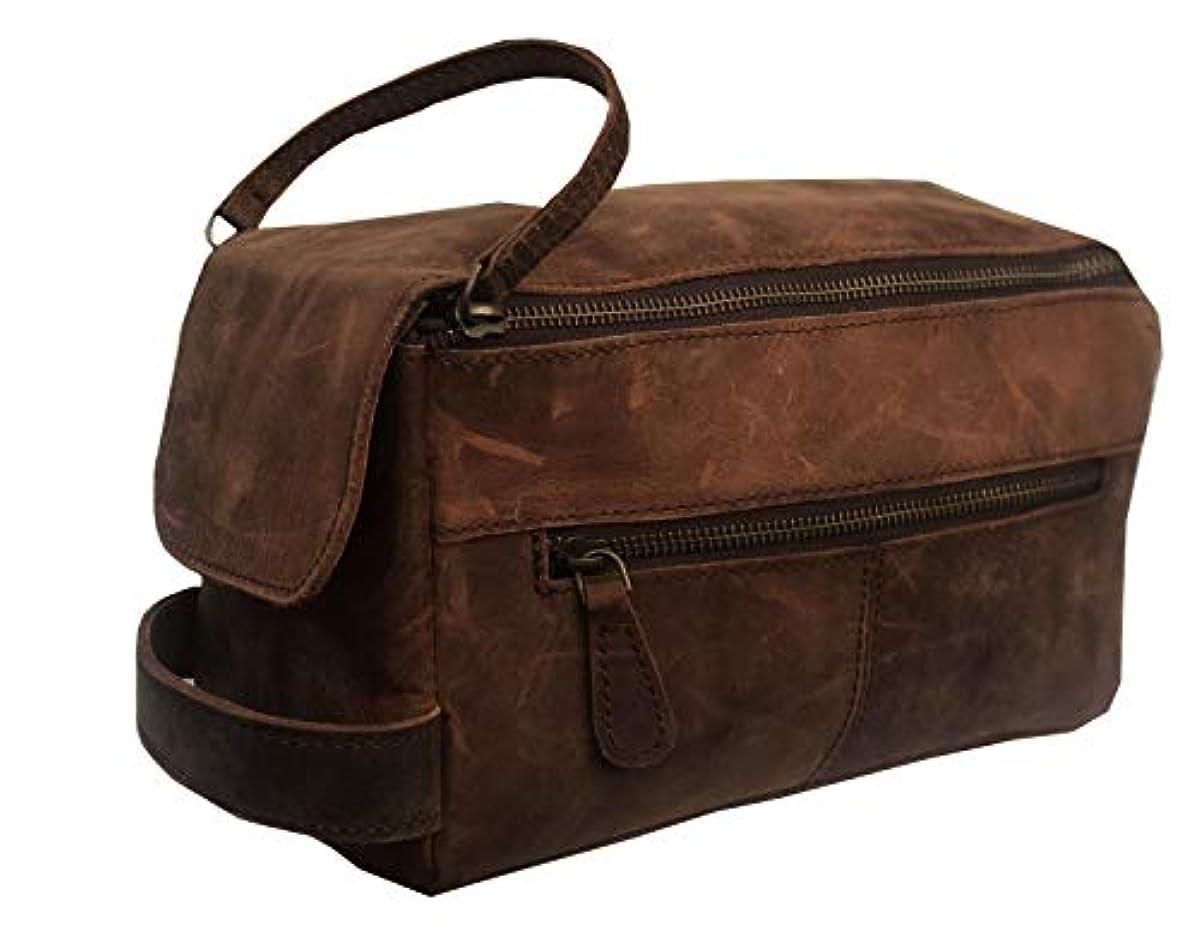 e6436d111a56 Genuine Buffalo Leather Unisex Toiletry Bag Travel Dopp Kit Grooming and  Shaving