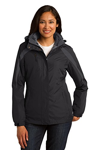 Port Authority Women's Colorblock 3 in 1 Jacket 4XL Black/ Black/ Magnet Grey