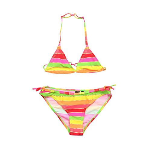 Mounter Maillots de Bain Filles, 2PC Couleur Pour Enfants Bande Réglable Sangle [Split] Bikini + [Triangle] Maillot de Bain 6-12Ans