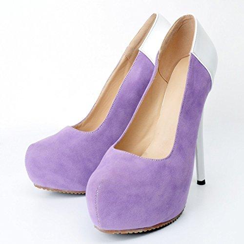 Plateforme Kolnoo Résumé pompes Stiletto Slip Chaussures haut Handmade purple Imprimer Femmes on Patchwork talon CTrTqXw