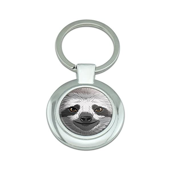 Graphics And More Sloth Face Classy Round Chrome Plated Metal Keychain -