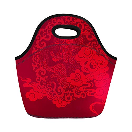 Semtomn Neoprene Lunch Tote Bag Red Prosperity Brought By the Dragon and Phoenix Series Reusable Cooler Bags Insulated Thermal Picnic Handbag for Travel,School,Outdoors,Work