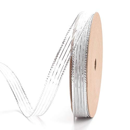 LaRibbons 3/8 Inch Silver Glitter Stripe Mesh Ribbon with Metallic Shine for Decoration, Craft, Gift Wrappping - 10 Yard/Spool