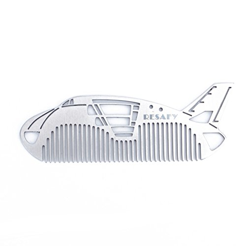 Resafy Stainless Steel Beard Comb Hair Comb Metal Wallet Comb Pocket Comb Shape of Airplane for Domestic and Gift