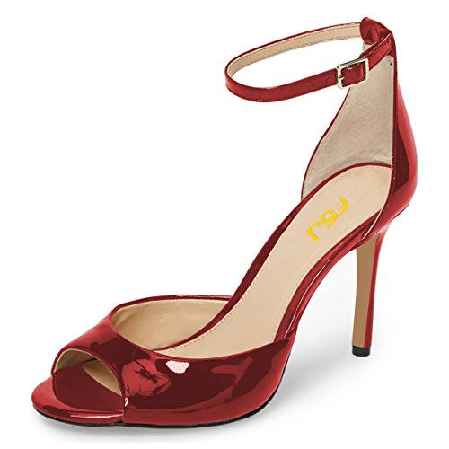 D'Orsay Sandals Ankle 4 Wine Heels Pumps Strap Red US 15 Fashion Women Shoes Peep Toe High FSJ Size Stiletto qPoCEFIxTw