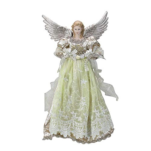 Kurt Adler UL 10 Light 16-Inch Platinum Angel Treetop (Angel Tree Ribbon Topper)