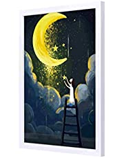 LOWHA moonlight starts Wall art with Pan Wood framed Ready to hang for home , bed room , office living room Home decor hand made White color 33 x 43cm By LOWHA