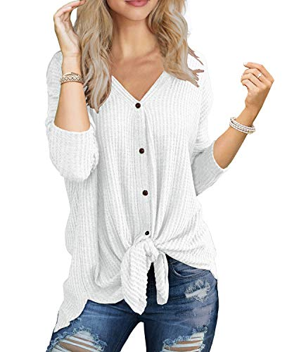 (IWOLLENCE Womens Loose Henley Blouse Bat Wing Long Sleeve Button Down T Shirts Tie Front Knot Tops White L)
