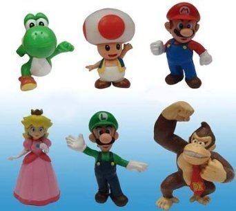 Popco Super Mario Series 1 Set of 6 Mini Party Figures Mario, Peach, Toad, Luigi, Yoshi Donkey Kong (Super Mario And Super Luigi)