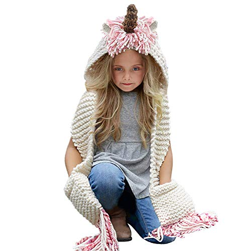Tacobear Crochet Cartoon Unicorn Winter Hat with Scarf Pocket Hooded Knitting Beanie for Girls, COlor: Long, One Size
