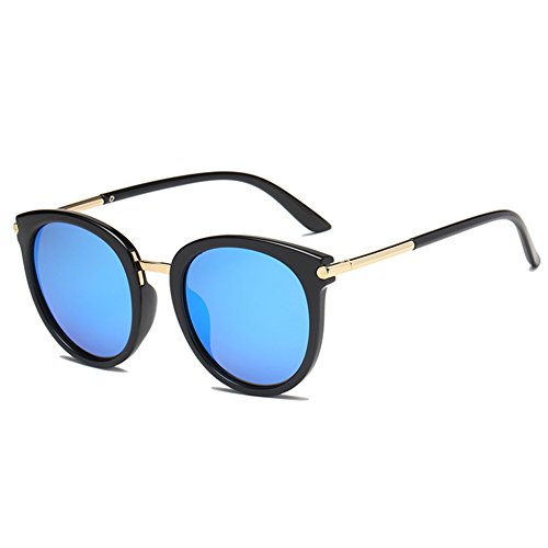 Glasses Face Eyewear Protection Black Lens Gold Polarized ice Sun Retro Sunglaase Fashion Women UV Trendy Blue Korean Street Sunglasses Frame Round YBxPFCqw