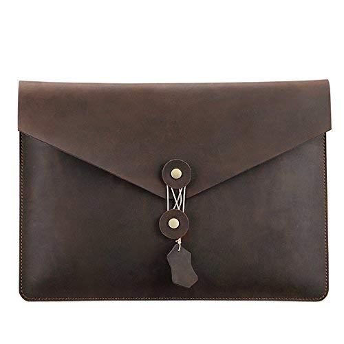 TechCode Case Cover for 15.4'' Retina MacBook Pro, Leather Clutch Portfolio Bag Envelope Portfolio Vintage Stylish Simple Design Retro Dark Brown Handbag for 15.4 inch Retina Pro (15.4 inch)