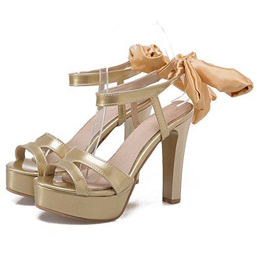 COOLCEPT Mujer Moda Cordones Sandalias Slingback Plataforma Peep Toe Tacon Ancho Zapatos Oro