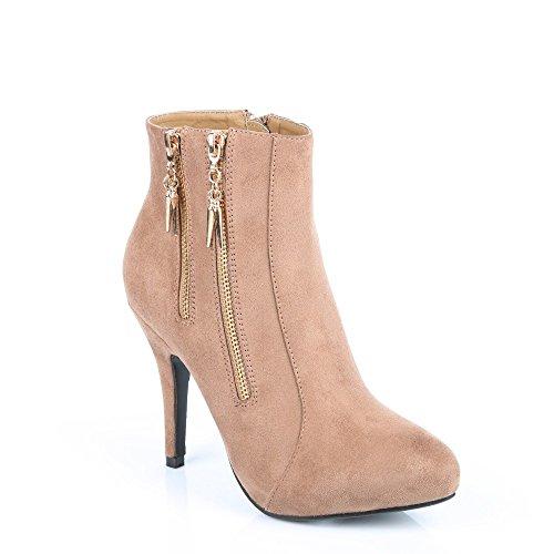 Ideal Shoes Stiefelette anzufassen Weich und Dekoriert von Zwei Reißverschlüsse Métalisées nadjia Taupe