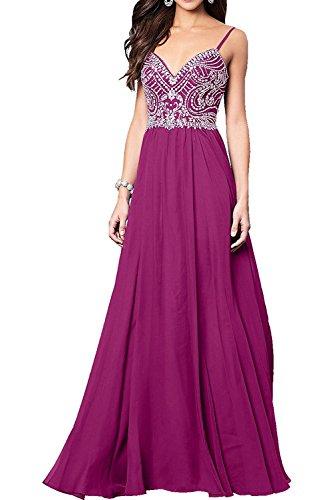 Chiffon Linie A mit La Ballkleider Langes Abendkleider Damen Partykleider Steine Marie Pink Braut Fesltichkleider q8WCwtz