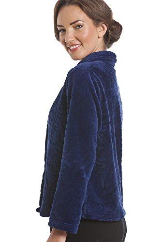 polar marino abotonada Forro Azul tipo Lujosa supersuave corta Azul chaqueta bata 1qgRwg