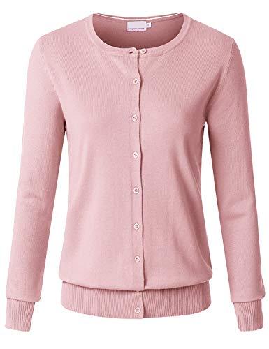 JSCEND Women's Long Sleeve Button Down Crew Neck Soft Knit Cardigan Sweater Dustypink ()