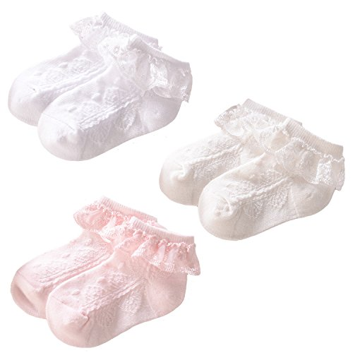 (Elesa Miracle Baby Girl Eyelet Lace Socks Little Girl Frilly Princess Lace Ruffles Socks Value Set (3 pairs- Pink, White, Off White, 4-6T))