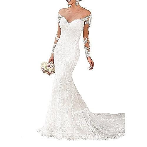 OYISHA Shoulder Lace Mermaid Wedding Dresses Long Sleeve Bridal Gown WD164 White B 2