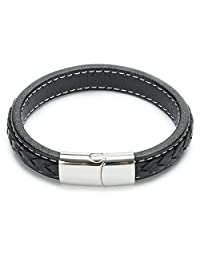 UTOVME Fashion Genuine Leather & Stainless Steel Magnetic Clasp Braided Wheat Bracelet 8.5""