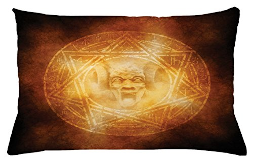 Ambesonne Horror House Throw Pillow Cushion Cover, Demon Trap Symbol Logo Ceremony Creepy Scary Ritual Fantasy Paranormal Design, Decorative Accent Pillow Case, 26 W X 16 L Inches, Orange by Ambesonne