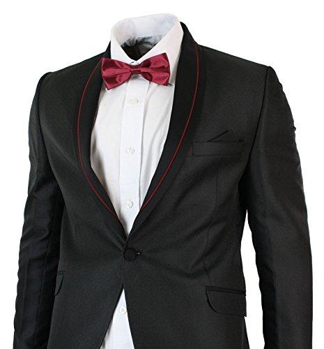 Détail Noir Bordeaux Mariage Fête Papillon Col Rouge Homme Azzaro Châle Costume Soirée Noeud Avec Smoking qHxZt1T1wU